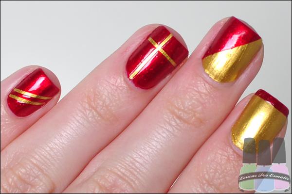 Esmaltes para Natal Dourado Vermelho