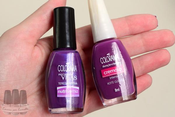 comparação esmalte roxo colorama