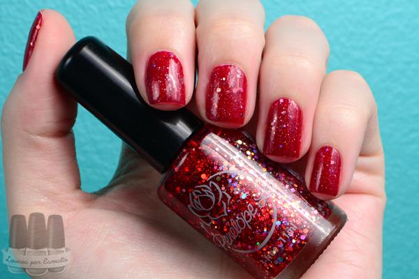unhas de natal vermelho glitter